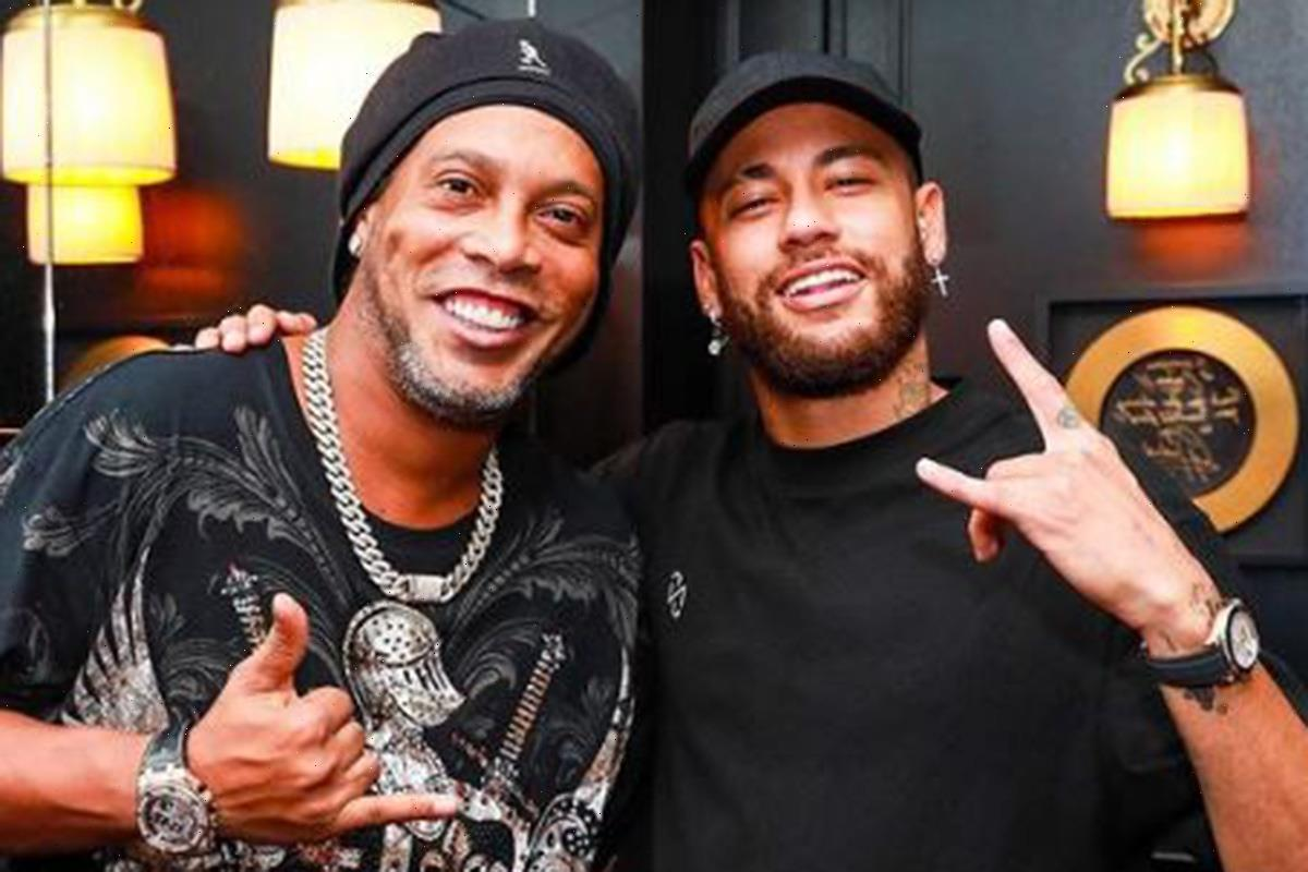 Neymar heads on night out with Ronaldinho after Lionel Messi reunion in Paris as Brazilian misses PSG game with injury